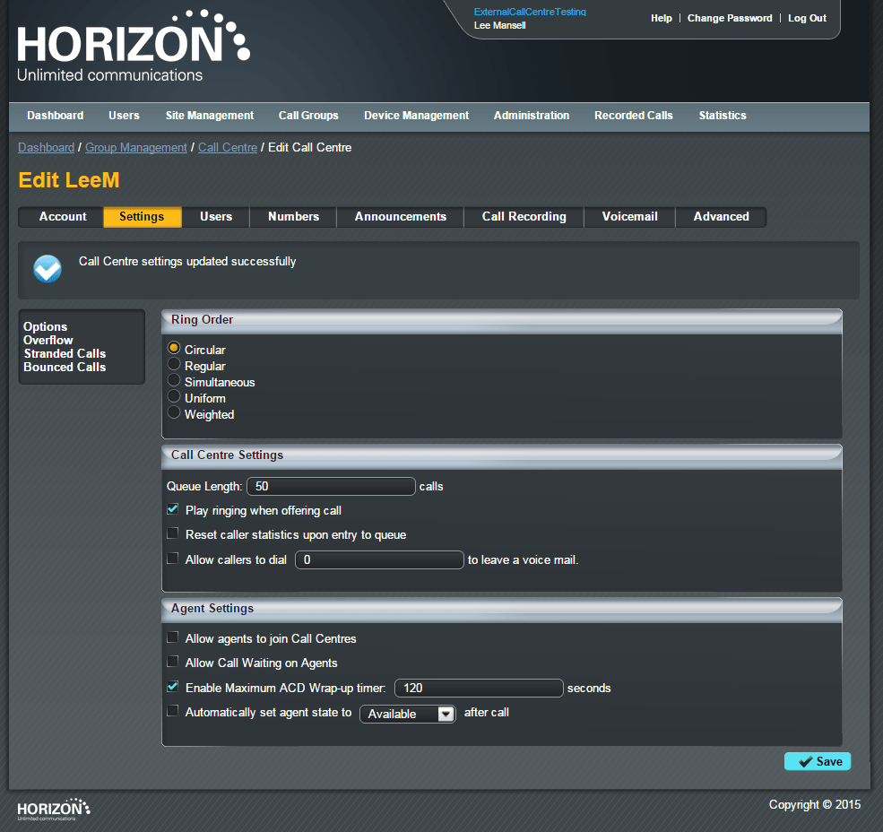 Image of web portal GUI for Horizon Hosted Call Centre
