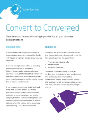 Image of Covert to Converged eGuide cover page. Convert to Converged Business Communications Services from Columbus UK. Consolidate voice, data, mobile and IT services to save time, reduce costs and improve efficiency.