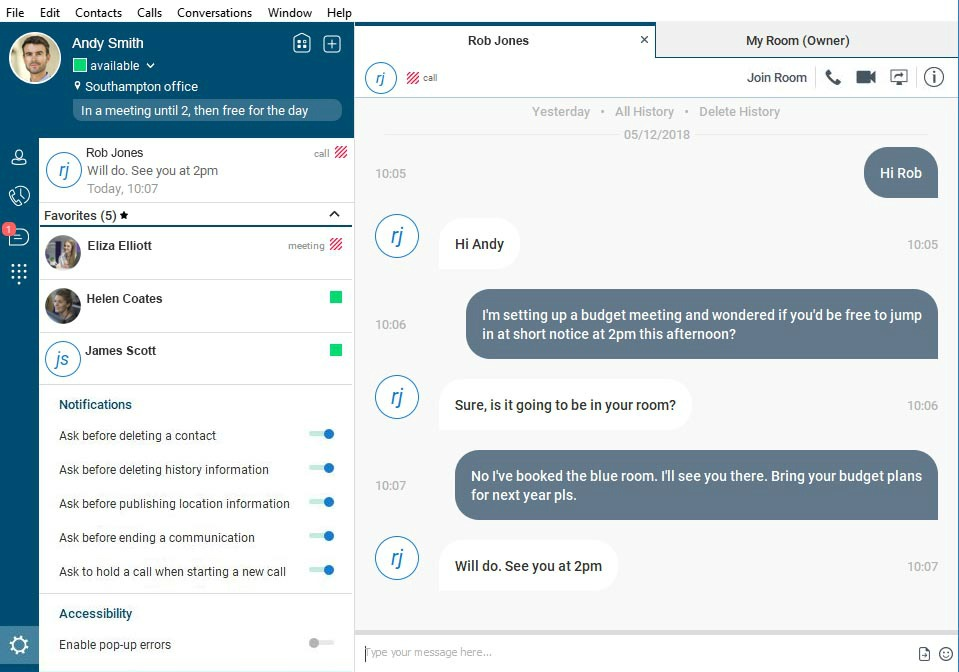 Screenshot of Horizon Collaborate UC chat room