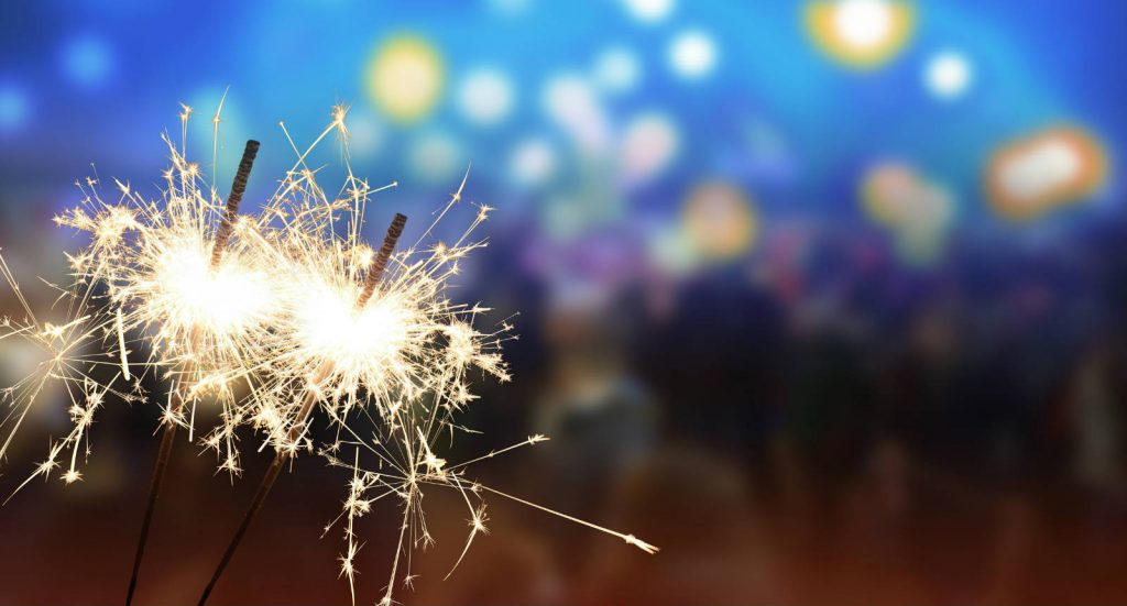 Columbus UK is 25, the leading Business Communications and Technology Service Provider celebrates 25 years in business. Image of sparklers.