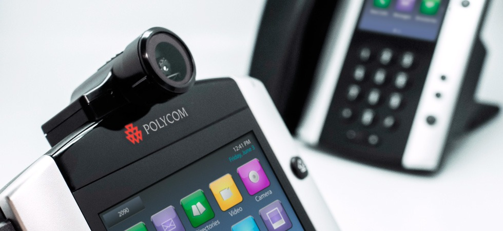 Image of Polycom VVx 600 Ip handset with camera attachment from Columbus UK.