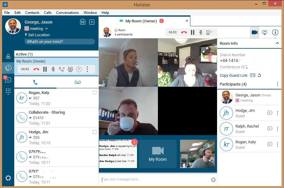 Horizon Collaborate from Columbus UK - voice and video calls, chat, presence, outlook integration, conferencing and screen and file sharing all in one app.